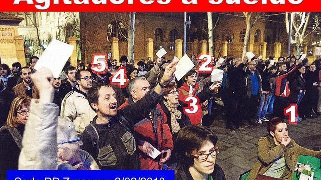 Imagen que circula por internet con políticos y asesores a sueldo de IU encabezando la concentración contra la sede del PP de Zaragoza del pasado viernes