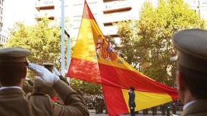 Bandera nacional de grandes dimensiones que el Ejército regaló a Zaragoza