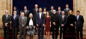 Foto de familia de los Premios Príncipe de Asturias 2013 en Oviedo.