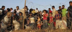 Refugiados sirios en la frontera de Turquía.