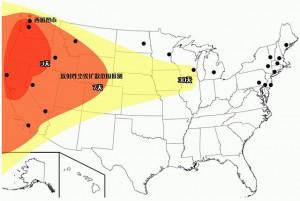 Mapa de los blancos que están al alcance de la flota de submarinos chinos con misiles nucleares
