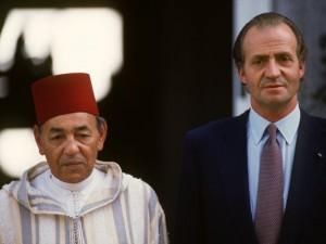 El fallecido Hassan II y el Rey Juan Carlos, durante una de sus visitas a Marruecos