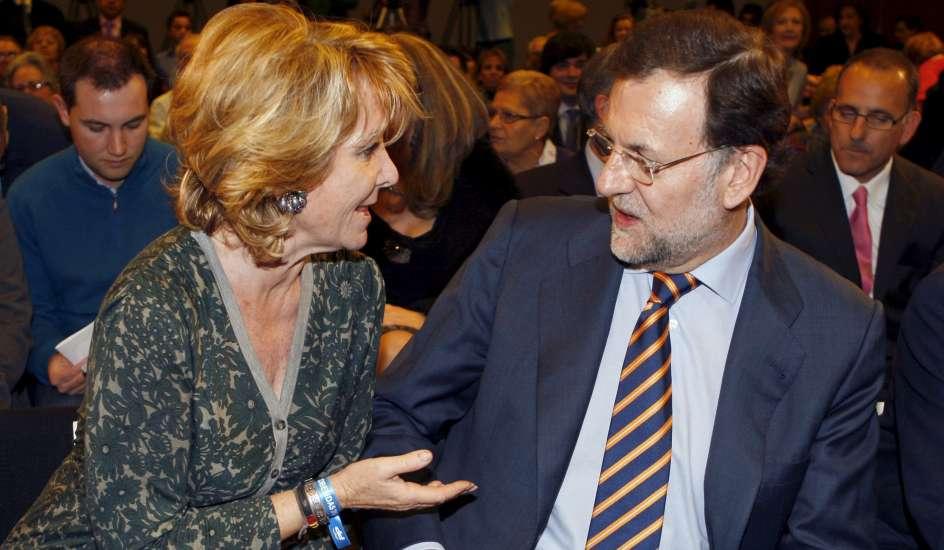 Esperanza Aguirre en un acto oficial con Mariano Rajoy
