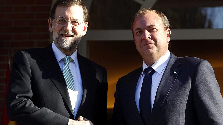 José Antonio Monago, junto a Mariano Rajoy.