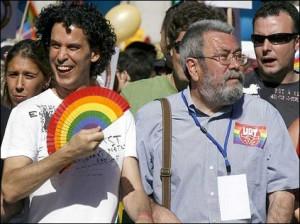 Zerolo, a la izquierda, junto a Cándido Méndez, líder de UGT.