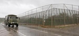 Imagen de un tramo de la valla de Melilla, cerca del puesto fronterizo de Barrio Chino.