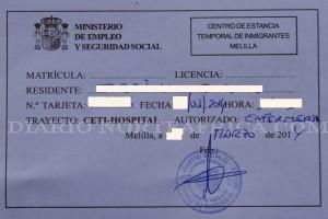 Uno de los bono-taxis expedido por el Ministerio de Sanidad y Asuntos Sociales