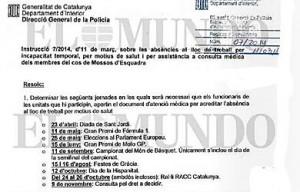 Imagen de la instrucción interna para movilizar a los Mossos el día del referéndum
