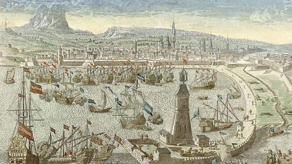 Uno de los grabados sobre la Guerra de Sucesión.