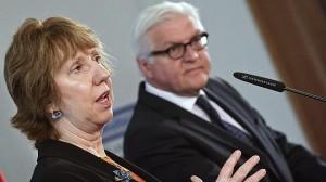 El ministro de Asuntos Exteriores alemán, Frank-Walter Steinmeier, y Catherine Ashton.