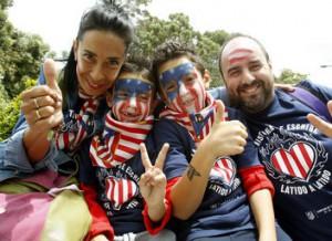 Aficionados del Atléti en Lisboa