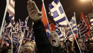 Militantes y simpatizantes de Amanecer Dorado, en un acto electoral del partido en Atenas