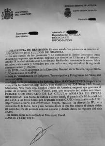 Documento de la Brigada de Información Provincial de Sevilla.