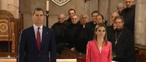 Los Príncipes de Asturias, durante el acto.