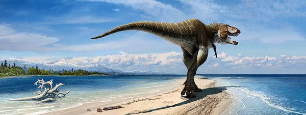 Recreación artística del dinosaurio 'Lythronax Argestes'