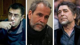 Juan Carlos Monedero, Willy Toledo y Joaquín Sabina.