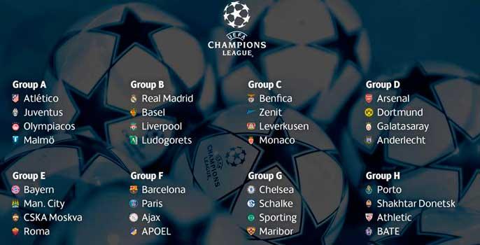 Composición de grupos de la Liga de Campeones (www.uefa.com)