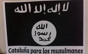 Fotografía de la bandera del Estado Islámico encontrada en un municipio de Barcelona