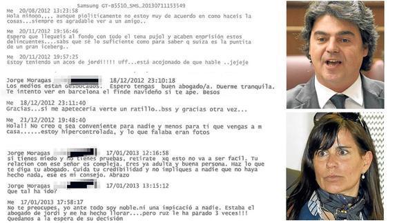 Varios de los mensajes que se intercambiaron Victoria Álvarez, exnovia del hijo del expresidente de la Generalitat y Jorge Moragas, director del Gabinete de Rajoy.