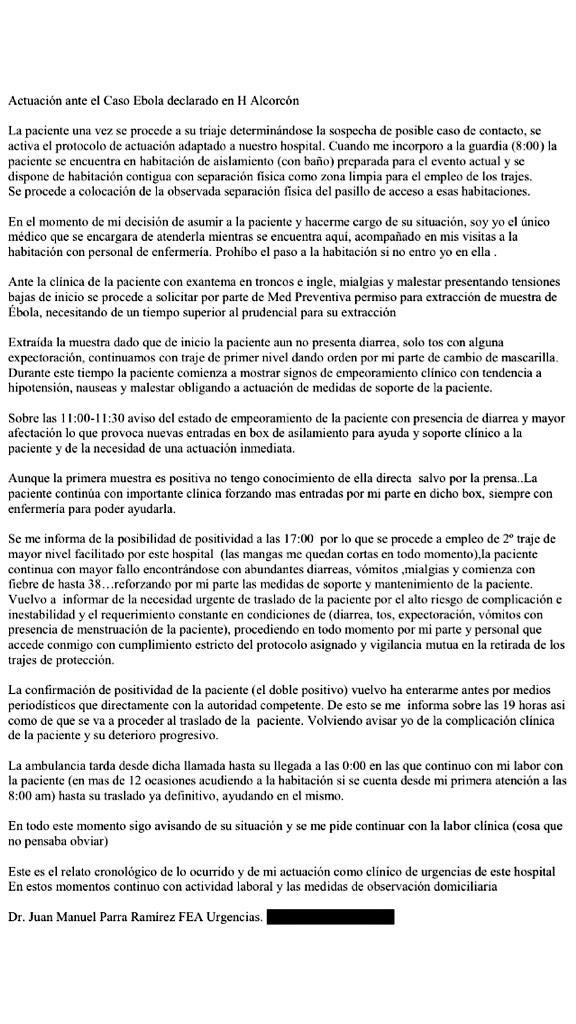 Carta enviada por el médico Juan Manuel Parra