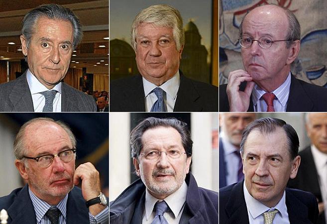 De izda. a dcha. y de arriba a abajo, Miguel Blesa, Arturo Fernández, Rafael Spottorno, Rodrigo Rato, José Antonio Moral Santín y Ildefonso Sánchez Barcoj.