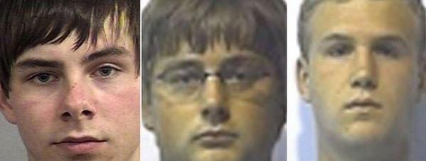 Los tres jóvenes acusados: Sam Miller, Dayton Ross Jones y Tyler Perry
