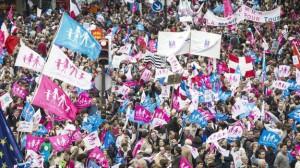 Un momento de la manifestación en favor de la familia clásica ocurrida en París.