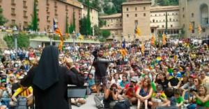 Acto independentista en el Monasterio de Montserrat
