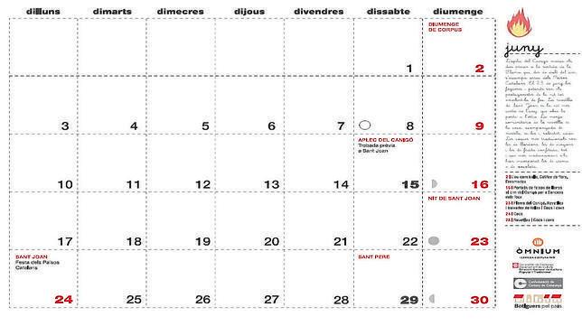 Imagen del calendario difundido por la Generalitat de Cataluña