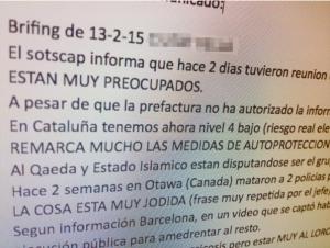 Comunicación interna de la Policía Autonómica catalana. / Fuente: ECD