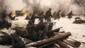 División Azul en el frente del Voljov, 1942. Un año antes de la batalla de Krasni Bor