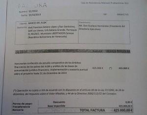 Factura presentada por Monedero.
