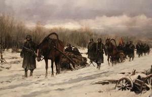 Un grupo de divisionarios avanza por los helados bosques rusos