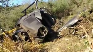 Estado en el que quedó el helicóptero tras el accidente.