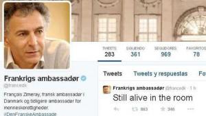 Mensaje publicado en Twitter por el embajador francés en Copenhague