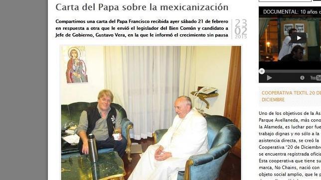 Página web de la ONG argentina La Alameda, que ha publicado la carta