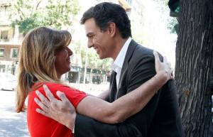 Susana Díaz y Pedro Sánchez en las inmediaciones de la sede socialista de la calle Ferraz