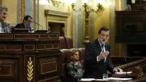 Rajoy, en su réplica a la intervención del líder del PSOE, Pedro Sánchez, en el debate del estado de la nación.
