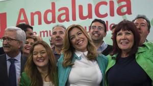 Susana Díaz celebra el triunfo electoral en el Palacio de Congresos de Sevilla