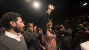 Teresa Rodríguez, candidata de Podemos, en la noche electoral.