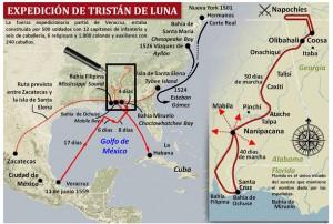 Sobre esta imagen de la expedición de Tristán de Luna nos hacemos idea de la importancia de su exploración para conocer parte del recorrido que debía cubrir el itinerario desde Zacatecas a Santa Elena.