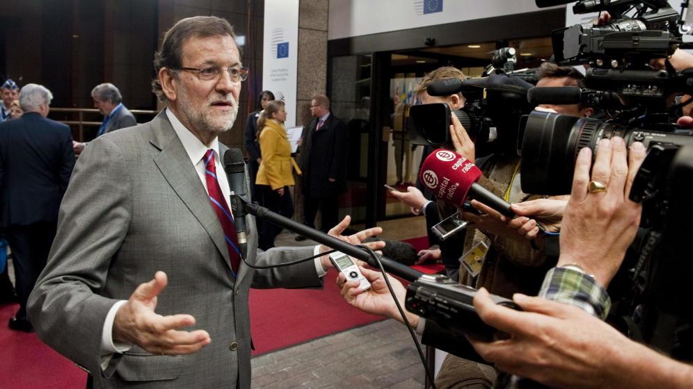 El presidente del Gobierno español, Mariano Rajoy, realiza declaraciones a la prensa tras el Consejo Europeo. Leer más: El empleo de Rajoy: la mayor caída salarial de Europa.