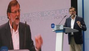 El presidente del Gobierno, Mariano Rajoy, durante su intervención en el acto de presentación de los candidatos conservadores.