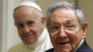 El presidente de Cuba, Raúl Castro, con el Papa.
