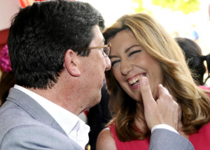 Susana Díaz (PSOE) y Juan Marín (Ciudadanos), en la Feria de Abril.