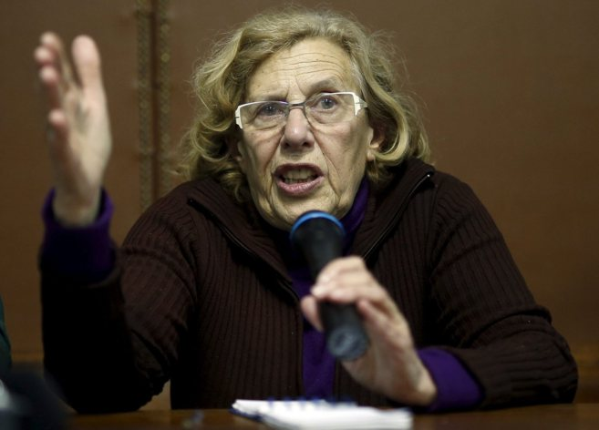 Manuela Carmena durante una intervención en Vallecas.