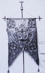 Estandarte de la Inquisición española que encabezaba la procesión de la Cruz Verde, que tenía lugar la víspera del auto de fe.