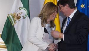La presidenta de la Junta de Andalucía en funciones, Susana Díaz, y el líder de Ciudadanos, Juan Marín.