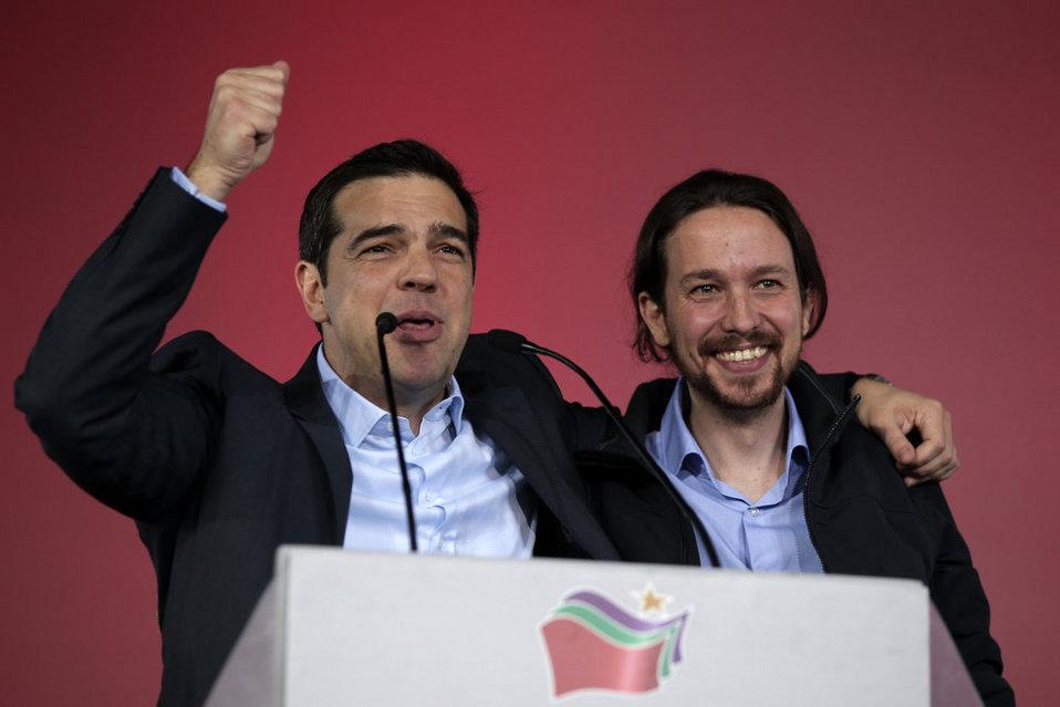 Alexis Tsipras, junto a Pablo Iglesias