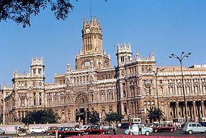Plaza de la Cibeles de Madrid en 1968.